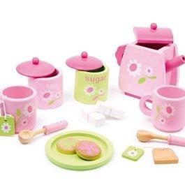 2849 Servizio da Tè per bambini con motivo a fiorellini small foot in legno, accessori per la cucin