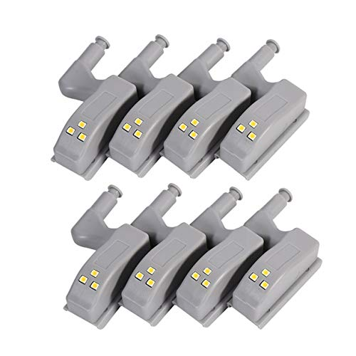 HONGCI 8 PCS Sensore di movimento, luce universale a LED per cerniera per armadietto per cucina...