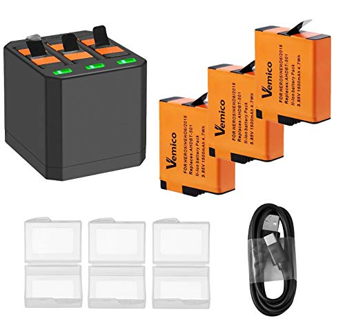 Sanoov Vemico Sostituzione per Batterie Caricabatteria Gopro Hero 7/6/5 Black Hero 2018 Batterie Ricaricabili (1500mAh) Kit Batterie USB Tipo C 3-Box Ricarica (3*Batteria +1*Caricatore)