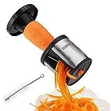 FLYTON Spiralschneider Hand für Gemüsespaghetti, Rostfreier Stahl Gemüsehobel Für Karotte,Gurke,Kartoffel,Kürbis,Zucchini-mit enthält die Bürste