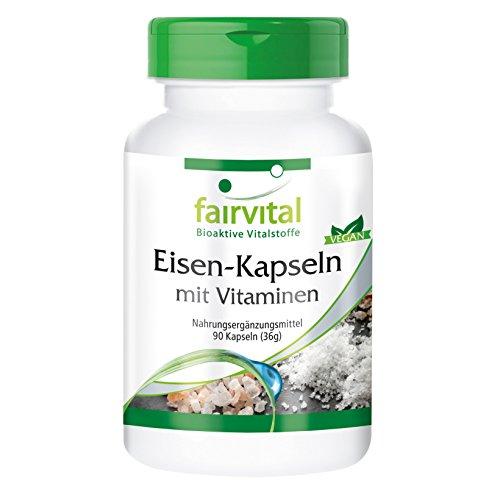 Eisen-Kapseln plus Vitamin C, Biotin u. B12 - Großpackung VEGAN - 90 Kapseln