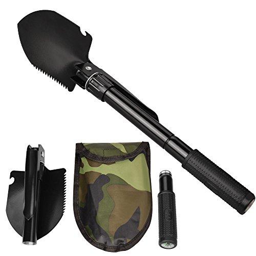 Pala Plegable Oziral Multifuncional Mini Pala Superviviencia Herramienta al aire libre para Acampar Campar Hacer Excursionismo Jardinería (Negro)