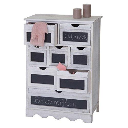 Serie Vintage credenza cassettiera Ermelo con lavagna legno di paulonia 30x60x87cm ~ bianco
