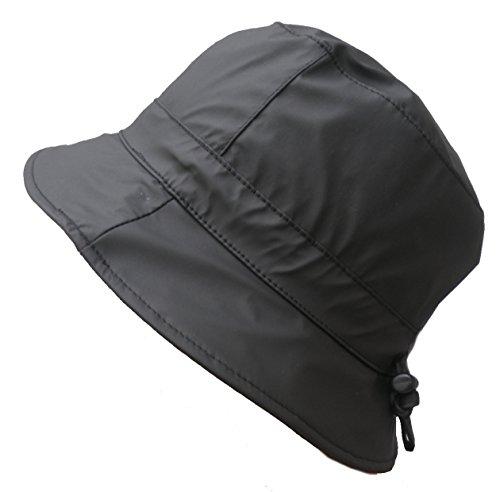 Damen Regenhut Mütze Wetterhut Damenmützen Regenhüte Kofferhut Reisehut (56, Schwarz)