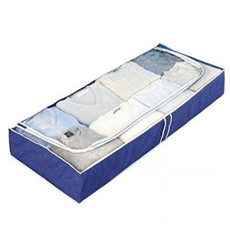 WENKO 4380630100 Unterbettkommode Air, Unterbett-Aufbewahrungstasche mit Sichtfenster, 105 x 15 x 45 cm, blau