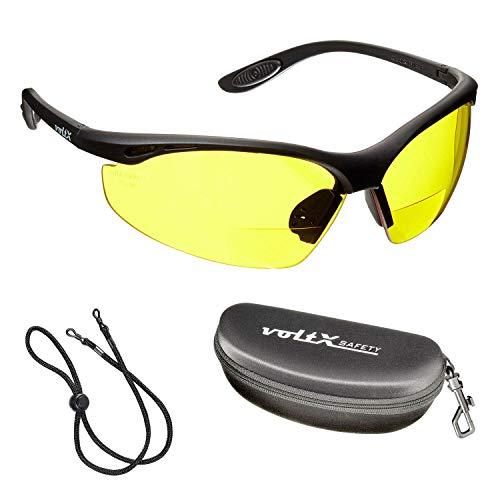 voltX 'CONSTRUCTOR' Gafas de Seguridad de Lectura BIFOCALES que cumplen con la certificación CE EN166F / Gafas para Ciclismo (AMARILLO dioptría +2.0) incluye cuerda de seguridad + estuche de seguridad rígido con bisagras - Reading Safety Glasses