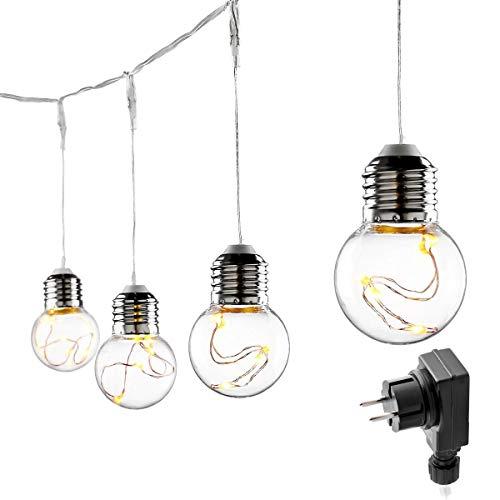 LE Luci Stringa Luminosa Vintage a Batteria 25 Lampadine LED Stile Edison G45, 6 m 8 Modalità...