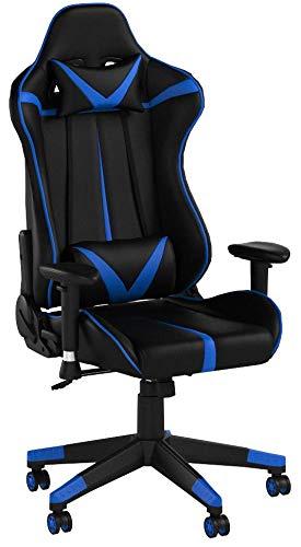 WOLTU BS13bl Sedia Gaming Gioco Sedie da Ufficio Girevole Ergonomica Lussuosa con Cuscini Poltrona Schienale Reclinabile Ecopelle