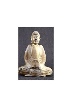 Cadeaux creation-Estatua de Buda de la madera maciza de meditación h20cm esculpido a mano