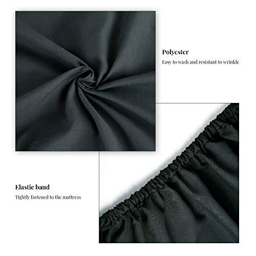 XU-XIAZHI,Ensemble de 4 pièces Housse de taie d'oreiller en Drap Plat en Polyester à élastiques(Color:Noir,Size:Roi) 24