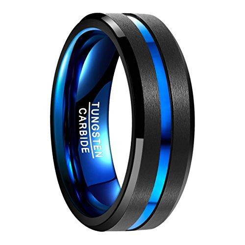 NUNCAD Men Pop Ring, Wolframcarbid, schwarz+blau (galvanisiert), Außenbreite 8mm bequem, Herren Ring Fashion, Größe 75