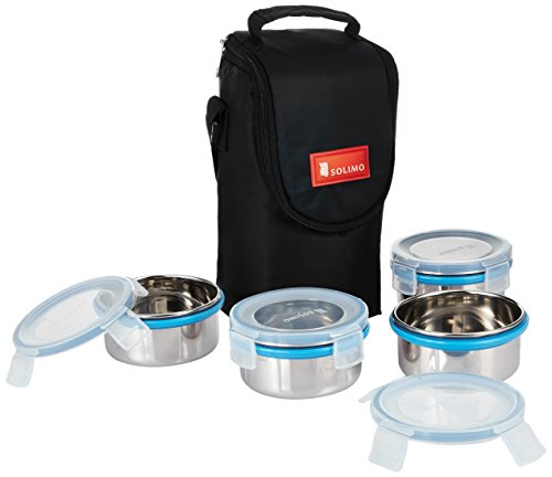 Solimo Stainless Steel Lunch Box Set, 4-Pieces, Clear Lid (300 ml)