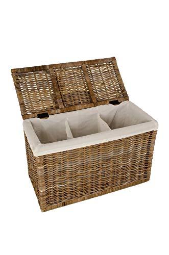 VIVANNO Wäschekorb Wäschebox Rattan 'Divide', 55cm hoch, Koobo Grey