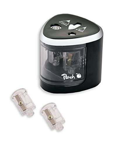 Peach PO102 elektrischer universal Anspitzer   inkl. Ersatzteile   für alle Bleistifte, Buntstifte, Eyeliner und Wachsmalstifte   Doppelspitzer für Stifte von 6-8 mm und 9-12 mm
