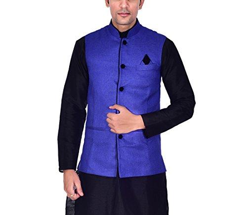 ellegent exports mens ethnic modi nehru jute jacket blue with black p