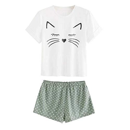 Proumy Conjunto de Pijama Blanca Mujer Verano Básica Estampado de Gatos Camiseta con Calzoncillos Blusa Talla Grande Camisa Transpirable Dos Piezas de Batas Largas Ropa de Dormir Cómoda Manga Corta