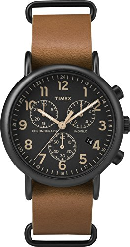 Timex Unisex Erwachsene Chronograph Quarz Uhr mit Leder Armband TW2P97500