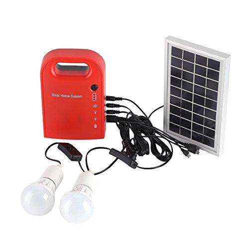 Asixx Energía Solar, Kit de Energía Solar, 12V Energía Solar Portátil, con Dos Bombillas LED, para Usar En El Hogar