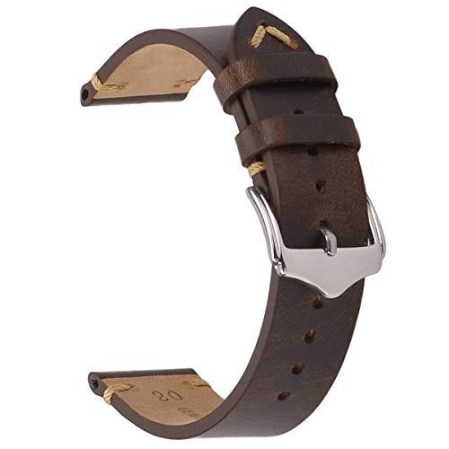 Leather Watch Strap,EACHE Oil Wax Calfskin Watch Band,Men Women Watch Replacement,Dark Brown-20mm