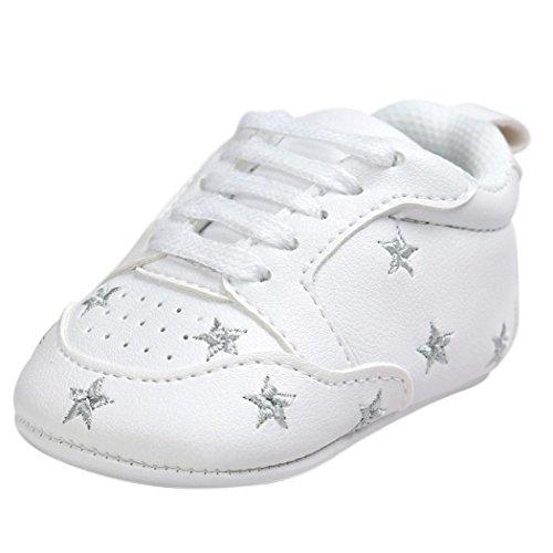 Scarpe Neonato Unisex inCotone Morbida - Stile Moda Star - Sneaker Antiscivolo (età: 12~18 Mesi, Argento Star)