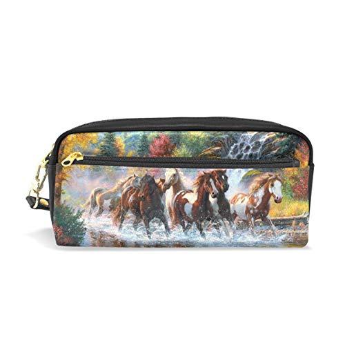 Eslifey, astuccio portatile per la scuola, in pelle sintetica, motivo: cavalli e cascata, per...