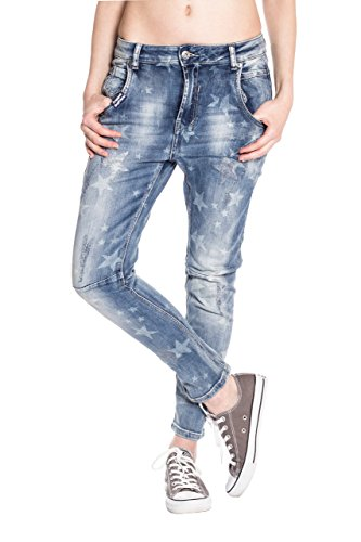 Blue-Monkey-Damen-78-Cropped-Boyfriend-Jeans-Sina-1464-Star-Print