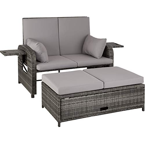 TecTake 800714 Aluminium Polyrattan Lounge 2er Garten-Sofa inkl. dicken Auflagen und Abdeckung, Rückenlehne verstellbar mit Gasdruckfedersystem - Diverse Farben (Grau | Nr. 403283)