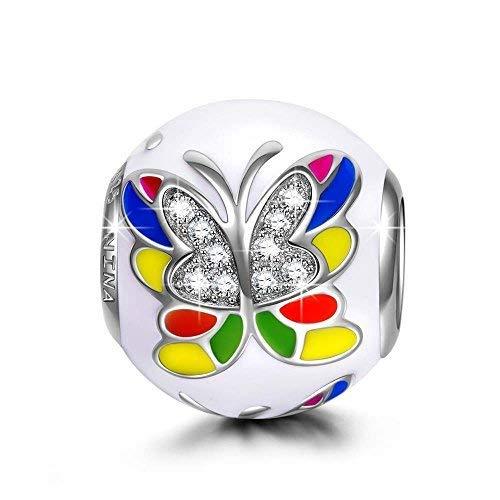 NINAQUEEN - Abalorio de plata de ley 925 con diseño de mariposas coloridas para pulseras, collares, cumpleaños, aniversarios, regalos para mujeres