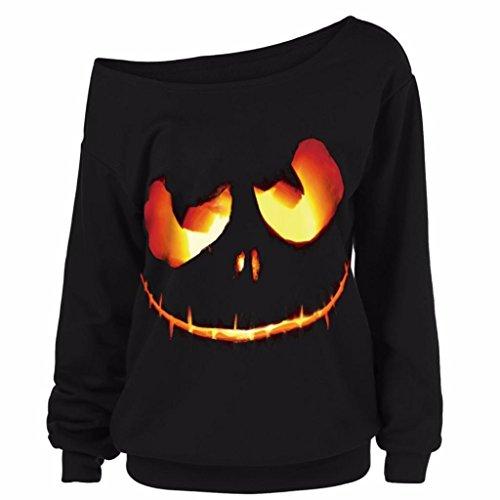818b78f30bad3e Ladies Halloween Tops Kangrun Off The Shoulder Shirt Cold Tee Devil Pumpkin  Printed Pullover Tops Women Long Sleeve Sweatshirt Plus Size Big Size Blouse  ...