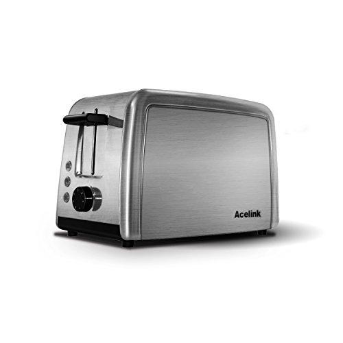 Acelink Automatik Toaster 2 Scheiben, 800 Watt Edelstahl-Toaster mit Brötchenaufsatz Testsieger, Krümelschublade, Defrost Funktion, 7-Bräunungsstufen (Silber)