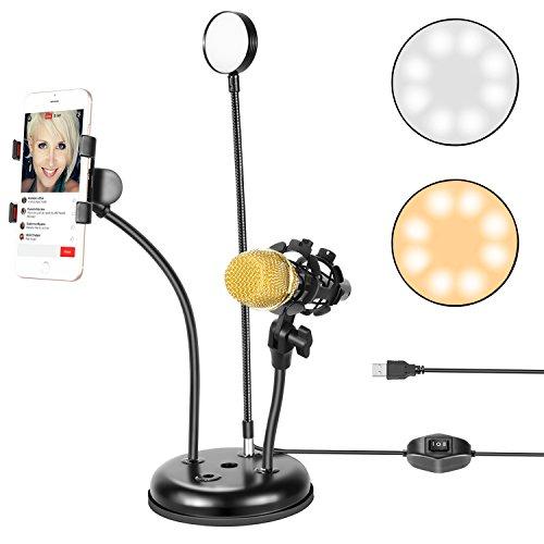 Neewer USB LED Selfie Luce ad Anello con Supporto per Cellulare e Microfono per Youtube Video,...