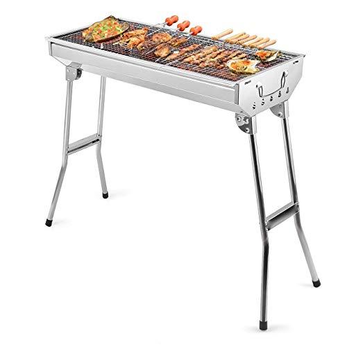 Uten, Barbecue a carbonella in Acciaio Inox, Pieghevole, Portatile, per Cucinare all'aperto, Campeggio, Escursionismo, Picnic, con Zaino in Spalla, Misura Grande, Colore Argento