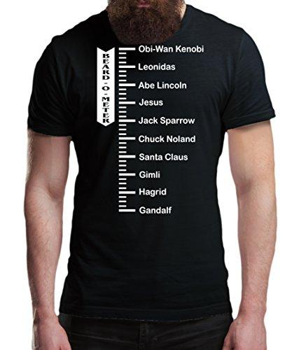 iMage T-Shirt Barba Metro Barb O Meter Lunghezza Barba Personaggi Famosi - Divertenti - Uomo-L-Nera