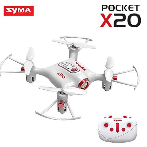 Vortex Toys Syma X20 Pocket Drone 2.4G 4CH 6Aixs Altitude Hold Mode One Key Tak-Off/Landing RC Quadcopter RTF (White)