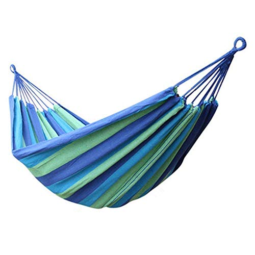 P-Plus International Camping Canvas Fabric Portable Garden Hammocks Striped Ultralight Outdoor Beach Swing Bed with Strong Rope (280 x 80 cm, Blue)