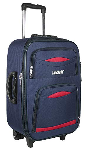 Lioncrown Polyester 55cm Softsided Trolley Cabin Luggage   Carry-On   Travel Bag (Navy Blue)