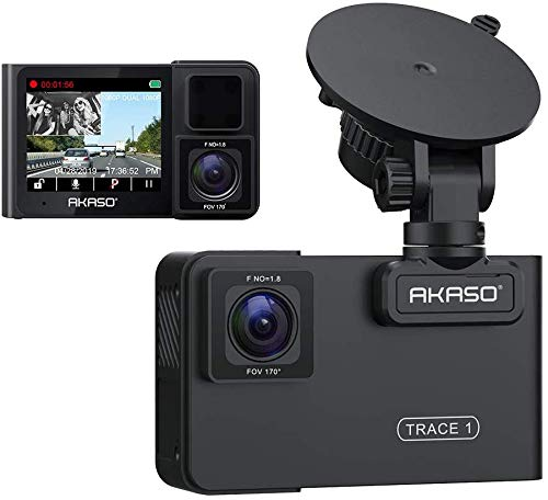 Dual Dash Cam for Cars - AKASO Trace1 Car Dash Camera Front 1080p60 Dual 1080p30 340° Coverage Infrared Night Vision with Sony STARVIS Loop Recording G-Sensor Support max. 128GB Card
