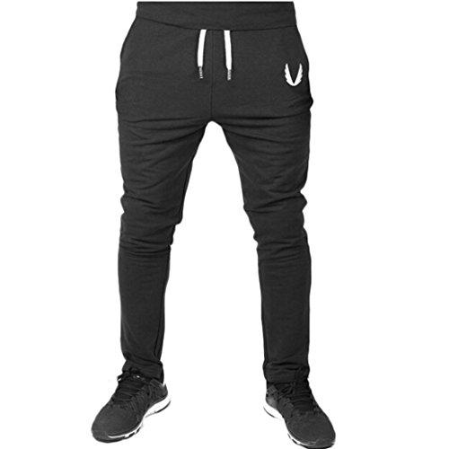 Hombre Pantalón Ropa Deportiva Para Hombres Pantalones de Gimnasia Elásticos Ocasionales del Ejercicio de La Aptitud Que Entrena el Funcionamiento Xinan (M, ��Negro)