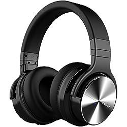 COWIN E7 PRO Auriculares Inalámbricos Bluetooth con Micrófono Hi-Fi Deep Bass Auriculares Inalámbricos Sobre El Oído, (Hi-Res Audio, cancelación de ruido, Bluetooth,30 horas de autonomía) - Negro (Negro)