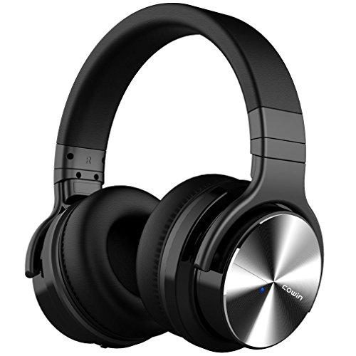 cowin E7 PRO [2018 aktualisiert] Active Noise Cancelling Bluetooth Kopfhörer mit Mikrofon Hi-Fi Deep Bass Wireless Kopfhörer über Ohr 30H Spielzeit für Reisen Arbeit TV Computer Telefon(Schwarz)