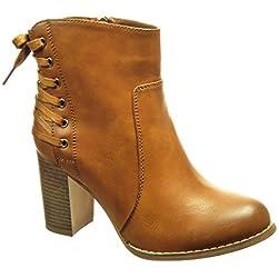 Angkorly - Chaussure Mode Bottine Low Boots Femme Lacets Talon Haut Bloc 8 CM - Intérieur Fourrée - Camel - F1071 T 38