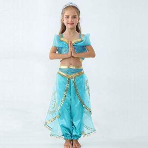 Traje del Funcionamiento de Verano de Las Muchachas de la Princesa Jasmine de Aladdin Traje de la Danza de Halloween Conjunto de Navidad Primeros Falda de Dos Piezas