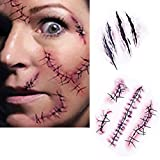 SA Halloween Zombie Scars Tattoos With Fake Scab Blood Bloody Scars Costume Makeup Sticker