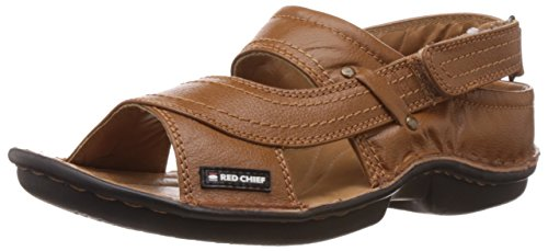 Redchief Men's Tan Leather Sandals and Floaters - 7 UK (RC0247 006)