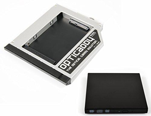 Opticaddy sata-3HDD/SSD Caddy adattatore set + USB custodia esterna per unità ottica per HP...