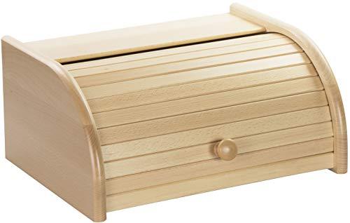 LAUBLUST Brotkasten aus Holz - ca. 40 x 30 x 19 cm, Buche Natur, 100{c89f12c206d40a6f9166e714713a0f883fe605857c07b9d9970fb33b01c0bdff} FSC® | Roll-Deckel & Ablage | Hergestellt in EU