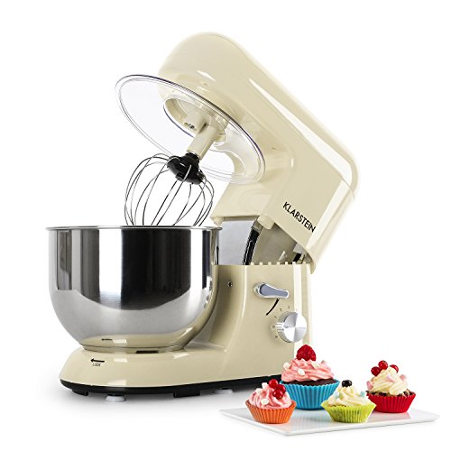KLARSTEIN Bella Morena - Robot da Cucina, Mixer, impastatrice, 1200 W, 5,2 L, Sistema planetario, 6...