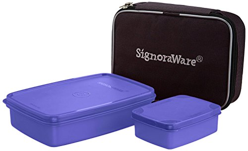 Signoraware Compact Small Lunch Box with Bag, Deep Violet