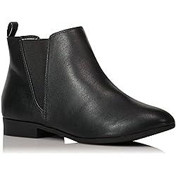Bottines Chelsea - En daim imitation cuir - Pour femme - Brun noir - Avec patte élastiquée et patte boutonnée - Talon plat et arrondi - Noir - Similicuir noir, 39