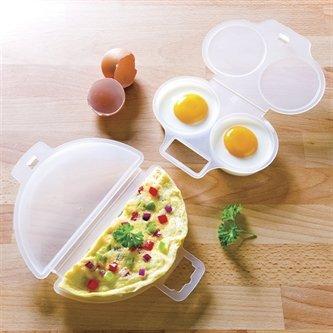 Accesorios para escalfar huevos y hacer tortillas en el microondas